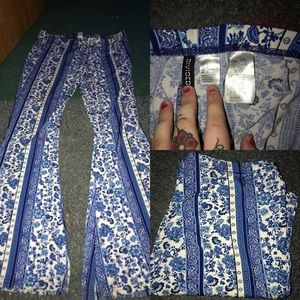 patterned stretch flare pants